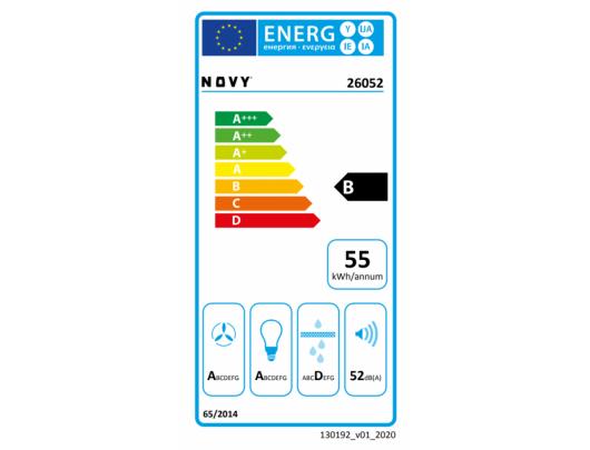 Gartraukis Novy Hood Crystal 26052 Canopy, Energy efficiency class B, Width 60 cm, 600 m³/h, Push buttons, LED, Black